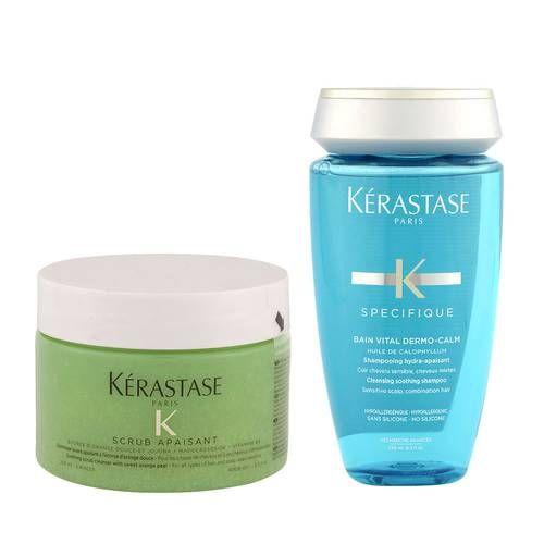 Kerastase Fusio Scrub Apaisant 250ml + Bain Vital Dermo Calm 250ml - scrub e shampoo lenitivo cute sensibile