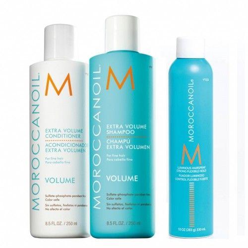 Moroccanoil Kit Extra Volume Shampoo 250ml + Extra Volume Conditioner 250ml + Luminous Hairspray Strong 330ml