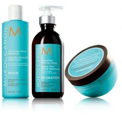 Moroccanoil Kit Moisture Repair Shampoo 250ml Hydrating Styling Cream 300ml Intense Hydrating Mask 250ml