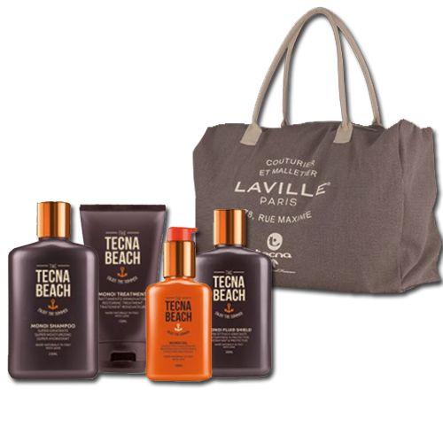 Tecna Monoi Sun Care Kit Shampoo + Treatment + Fluid Shield + Oil + Bag Omaggio