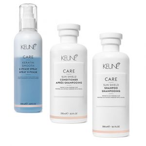 KEUNE Kit Care Sun Shield Shampoo 300ml + Balsamo 250ml + Keratin Smooth 200ml