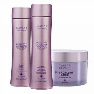 ALTERNA CAVIAR Kit Anti-Aging Bodybuilding Volume Conditioner 250ml + Shampoo 250ml + Repair Fill e Fix Treatment Masque 161g