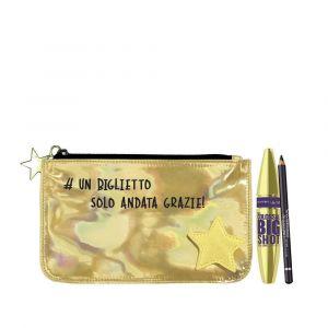 MAYBELLINE NEW YORK Mascara The Colossal Big Shot + Matita Black + Pochette Gold