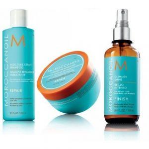 Moroccanoil Kit Moisture Repair Shampoo 250ml Restorative Hair Mask 250ml Glimmer Shine Spray 100ml