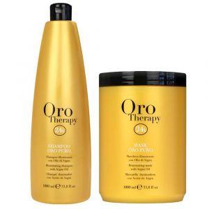 FANOLA Kit Oro Puro Shampoo + Maschera Illuminante 1000ml
