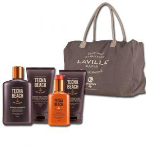 Tecna Monoi Sun Care Kit Shampoo + Treatment + Cream Shield + Oil + Bag Omaggio