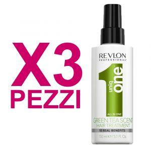 UNIQ ONE Kit All In One Hair Treatment Green Tea 3 Pezzi x 150ml